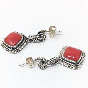 Jewelry - Vintage Red Jasper and Sterling Earrings